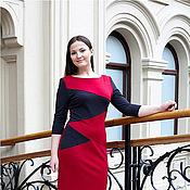 Одежда ручной работы. Ярмарка Мастеров - ручная работа Платье из Джерси с карманами - серый, красный. Handmade.