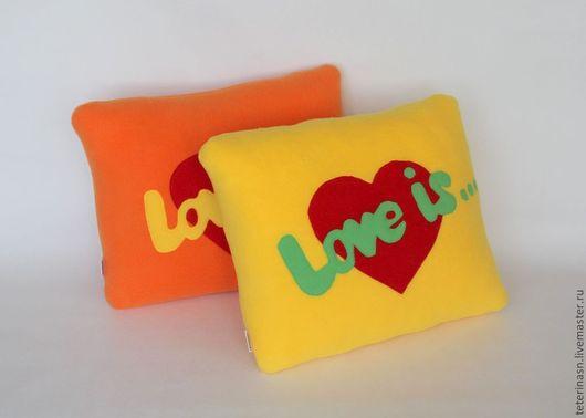 Текстиль, ковры ручной работы. Ярмарка Мастеров - ручная работа. Купить Подушка LOVE IS...желтая, оранжевая. Handmade. Подушка
