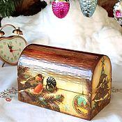 Сувениры и подарки handmade. Livemaster - original item New Year`s chest Bullfinch. Handmade.