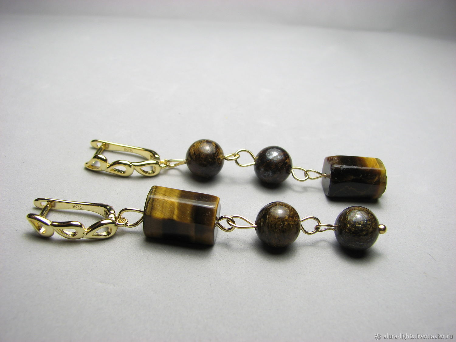 Earrings with bronzite and tiger eye ' Asymmetry', Earrings, Moscow,  Фото №1