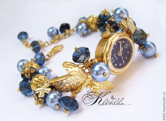 """Часы ручной работы. Ярмарка Мастеров - ручная работа. Купить Часы браслет позолоченные раритетные """"Золотая Заря"""" с жемчугом (С009). Handmade."""