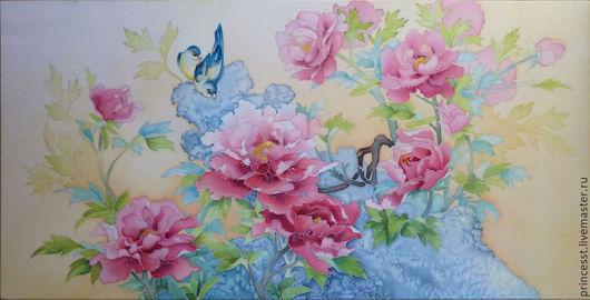 Картины цветов ручной работы. Ярмарка Мастеров - ручная работа. Купить Пионовая весна. Handmade. Пионы, Батик, панно на шёлке