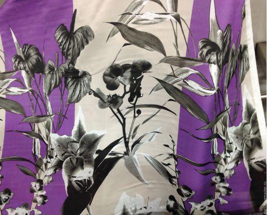 Шитье ручной работы. Ярмарка Мастеров - ручная работа. Купить Шёлк Цветы на фиолетовом. Италия. Handmade. Разноцветная, на каждый день
