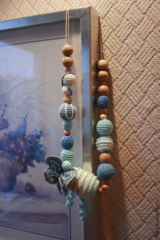 """Слингобусы ручной работы. Ярмарка Мастеров - ручная работа. Купить Слинго-бусы """"Бабочка"""". Handmade. Голубой, бабочка, погремушка"""