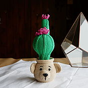 Для дома и интерьера handmade. Livemaster - original item Cactus in a pot in the form of bears. Blooms all year round. Handmade.