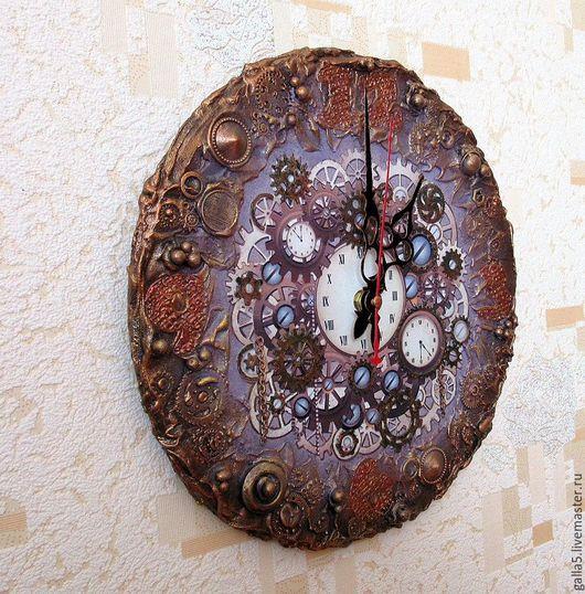 Часы для дома ручной работы. Ярмарка Мастеров - ручная работа. Купить Часы в стиле стимпанк - 3.. Handmade. Коричневый