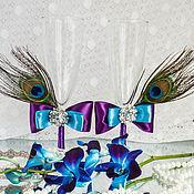 """Бокалы ручной работы. Ярмарка Мастеров - ручная работа Бокалы """"Перо павлина"""". Handmade."""