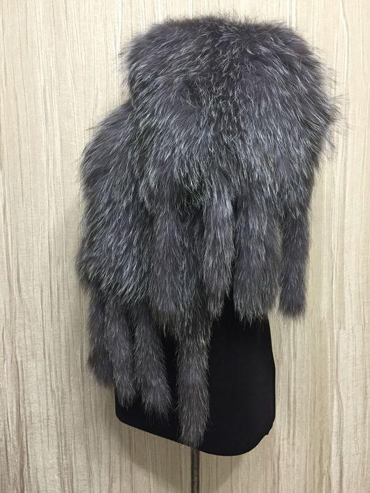 Палантин из вязанного меха чернобурки