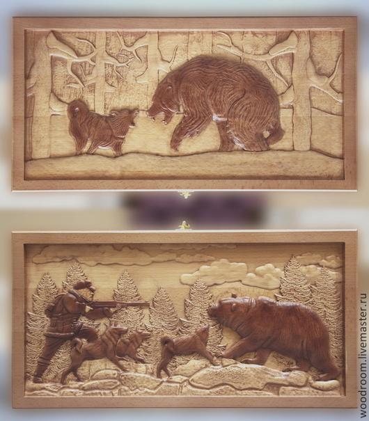 Настольные игры ручной работы. Ярмарка Мастеров - ручная работа. Купить Резные нарды из дерева. Охота на медведя.. Handmade. Нарды