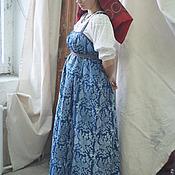 Одежда ручной работы. Ярмарка Мастеров - ручная работа Сарафан круглый, кубовая набойка. Handmade.