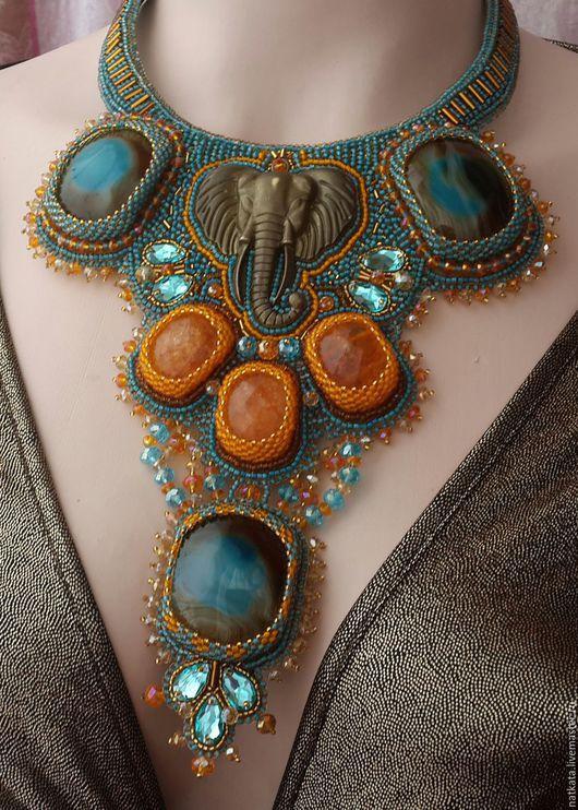 """Колье, бусы ручной работы. Ярмарка Мастеров - ручная работа. Купить Колье """" Сказки    Индии"""". Handmade. Синий"""