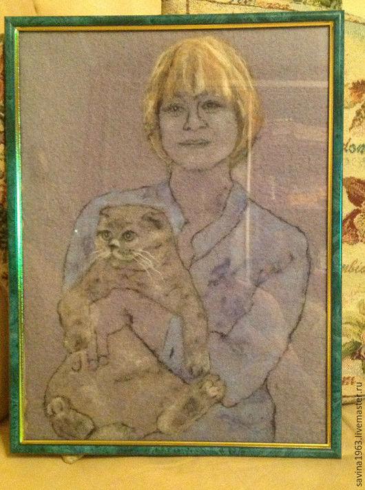 Люди, ручной работы. Ярмарка Мастеров - ручная работа. Купить портрет из шерсти. Handmade. Серый, шерсть 100%