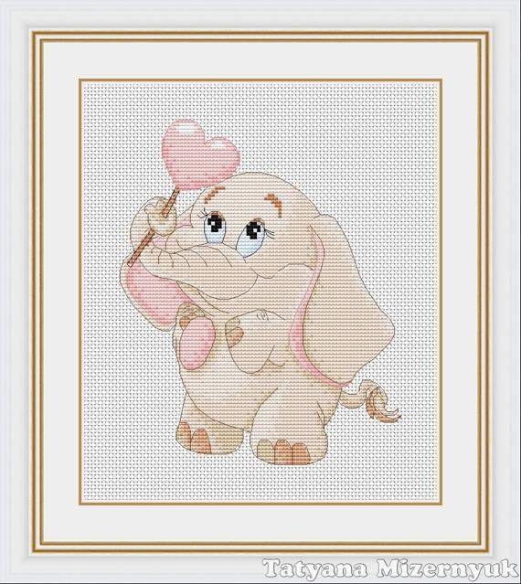 """Схема для вышивки крестиком """"Слонёнок с леденцом"""", Вышивка, Александров, Фото №1"""