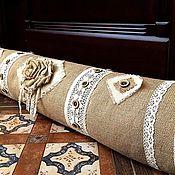 Для дома и интерьера ручной работы. Ярмарка Мастеров - ручная работа Подушка-валик из мешковины от сквозняков Рустик. Handmade.