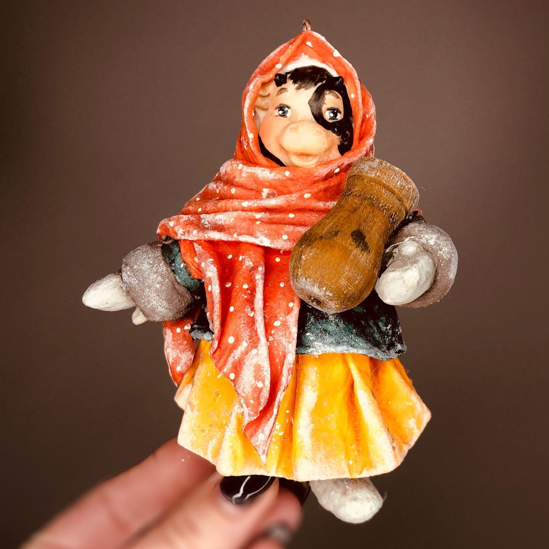 Ватная елочная игрушка Буренка, Игрушки, Москва,  Фото №1