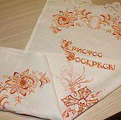 Салфетки ручной работы. Ярмарка Мастеров - ручная работа Вышитая льняная пасхальная салфетка. Handmade.