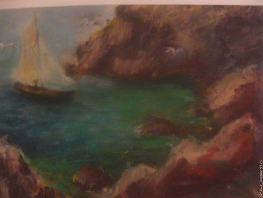 Пейзаж ручной работы. Ярмарка Мастеров - ручная работа. Купить Скалистый берег. Handmade. Комбинированный, так и хочется в море