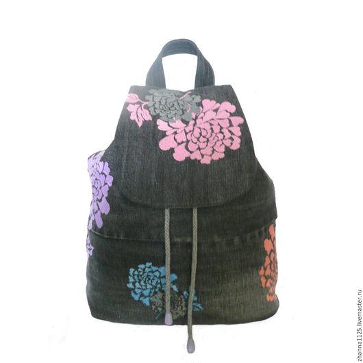 Джинсовый рюкзак `Райские цветы` с вышивкой. Автор ZhannaPetrakova Atelier Moscow. Рюкзаки ручной работы. Купить рюкзак с вышивкой. Женский рюкзак, handmade.