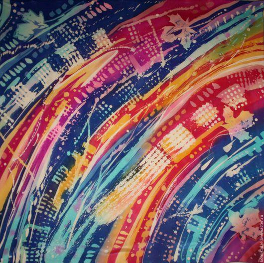 """Шали, палантины ручной работы. Ярмарка Мастеров - ручная работа. Купить Шёлковый батик платок """"И синева"""". Handmade. Разноцветный"""