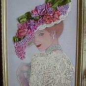 """Картины и панно ручной работы. Ярмарка Мастеров - ручная работа Картина вышитая лентами """"Дама в шляпе"""". Handmade."""