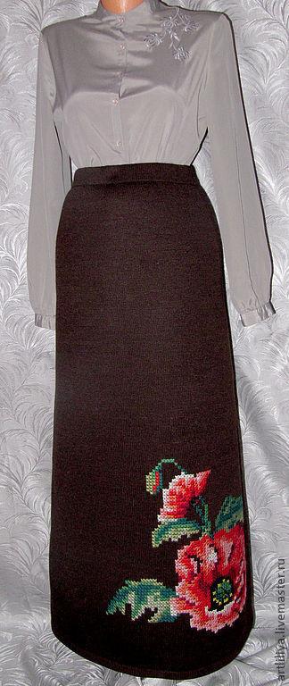 Юбки ручной работы. Ярмарка Мастеров - ручная работа. Купить юбка вязаная тёплая длинная с вышивкой  Красные маки. Handmade.