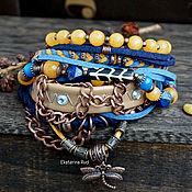 Украшения handmade. Livemaster - original item Blue BOHO-chic bracelet with yellow stones