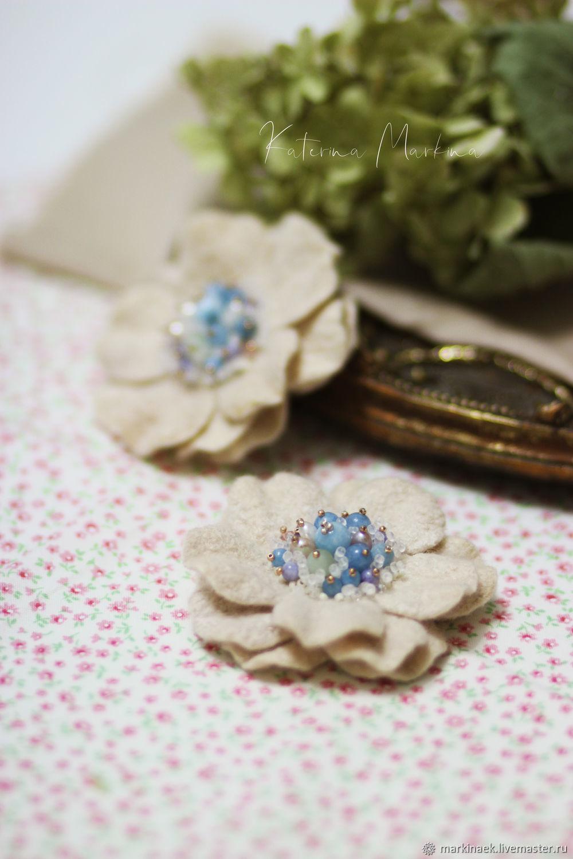 Set of felt brooches ' Duet', Brooches, Kamensk-Shahtinskij,  Фото №1