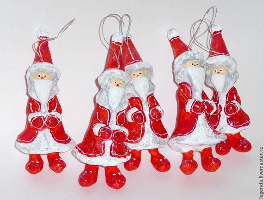 Новый год 2017 ручной работы. Ярмарка Мастеров - ручная работа. Купить Санта-Клаус. Елочные игрушки из папье-маше. Handmade.