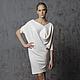 Платье белое трикотажное женское, платье MustHave тёплое с ангорой из шерсти длиной до колен, свободного кроя, комфортное, удобное, платье на каждый день