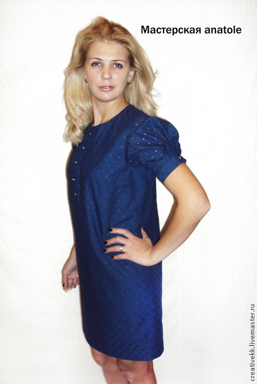 Платья ручной работы. Ярмарка Мастеров - ручная работа. Купить Платье из шитья. Handmade. Тёмно-синий, платье повседневное, шитье