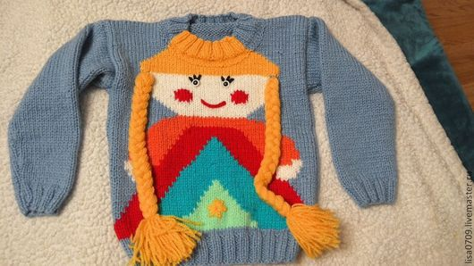 Одежда для девочек, ручной работы. Ярмарка Мастеров - ручная работа. Купить вязанный свитер для девочки. Handmade. Голубой, вязанный свитер