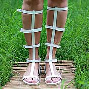 Обувь ручной работы handmade. Livemaster - original item roman sandals leather open with zipper white. Handmade.