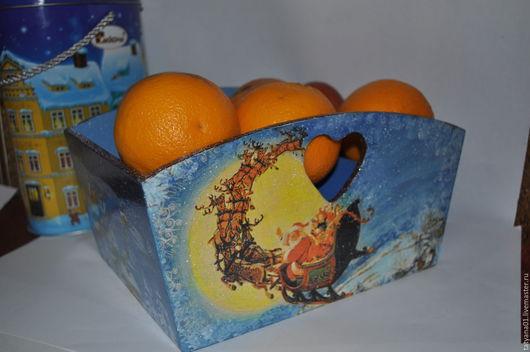 Корзины, коробы ручной работы. Ярмарка Мастеров - ручная работа. Купить Короб новогодний. Handmade. Разноцветный, мандарин, олени
