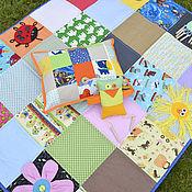 Для дома и интерьера ручной работы. Ярмарка Мастеров - ручная работа Покрывало и подушка с картинками. Handmade.