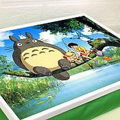 Для дома и интерьера ручной работы. Ярмарка Мастеров - ручная работа Столик-поднос на зеленой подушке (с вашей картинкой). Handmade.