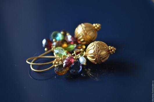 """Серьги ручной работы. Ярмарка Мастеров - ручная работа. Купить Серьги к браслету """" Мелодия самоцветов"""". Handmade. Гранат, vermeil"""