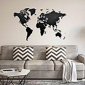 Для дома и интерьера handmade. Livemaster - original item World map of Wall Decoration Black 130x78. Handmade.