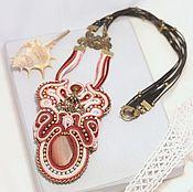 Украшения handmade. Livemaster - original item Necklace soutache Aroma of strawberries, large Jasper beads, art Nouveau style. Handmade.