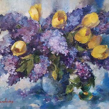 Картины и панно ручной работы. Ярмарка Мастеров - ручная работа Сирень и тюльпаны. Handmade.