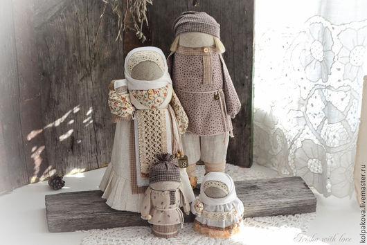 """Народные куклы ручной работы. Ярмарка Мастеров - ручная работа. Купить кукла-оберег Семья""""Ванильное облако"""".. Handmade. Белый, лен"""