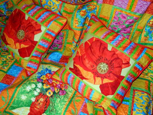 Текстиль, ковры ручной работы. Ярмарка Мастеров - ручная работа. Купить покрывало в спальню  МАКИ лоскутное шитье. Handmade.