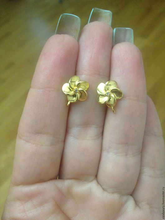 Для украшений ручной работы. Ярмарка Мастеров - ручная работа. Купить ШВЕНЗЫ кольца с цирконами,12х10мм, позолота 16К, Ю.Корея. Handmade.