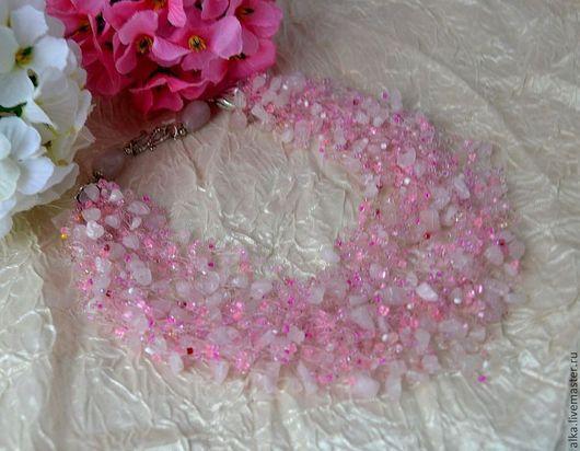 """Колье, бусы ручной работы. Ярмарка Мастеров - ручная работа. Купить Колье с  розовым кварцем """"Розовая дымка"""". Handmade. ожерелье"""