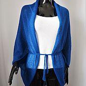 Одежда ручной работы. Ярмарка Мастеров - ручная работа Накидка-болеро из кид-мохера, цвет ярко-синий. Handmade.