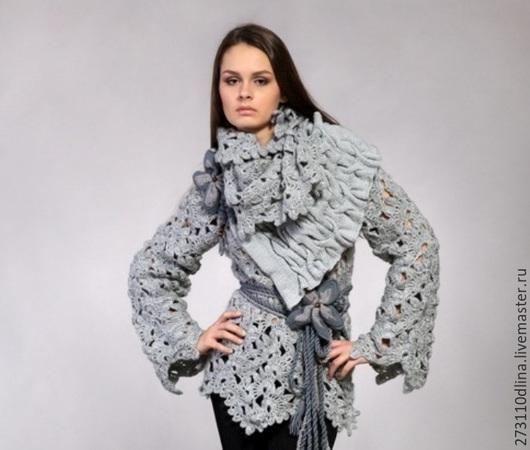 """Пиджаки, жакеты ручной работы. Ярмарка Мастеров - ручная работа. Купить Пуловер """"Ирочка"""". Handmade. Серый, снуд крючком"""