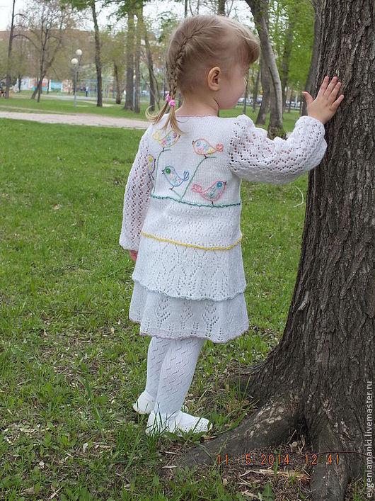 Одежда для девочек, ручной работы. Ярмарка Мастеров - ручная работа. Купить кардиган Трели над облаками вязаный детский для девочки авторский. Handmade.