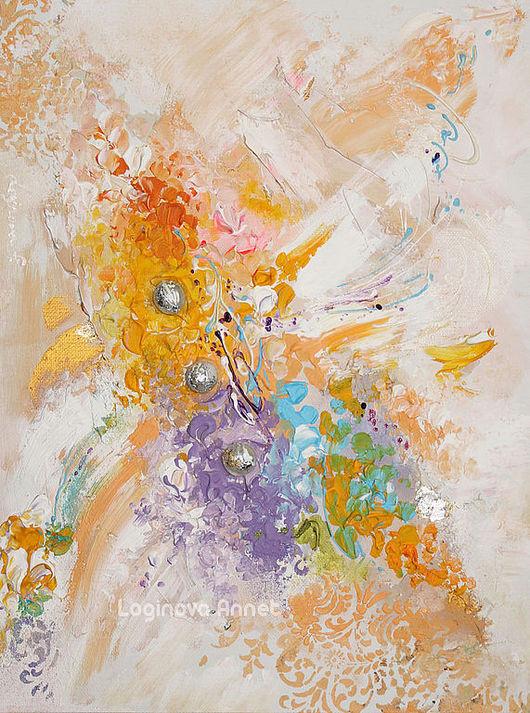 Абстракция ручной работы. Ярмарка Мастеров - ручная работа. Купить Happiness colors. Handmade. Персиковый, счастье, лиловый, необычная картина