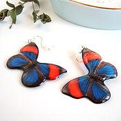 Украшения handmade. Livemaster - original item Transparent Earrings Resin Earrings Butterfly Red and Blue Boho Style. Handmade.