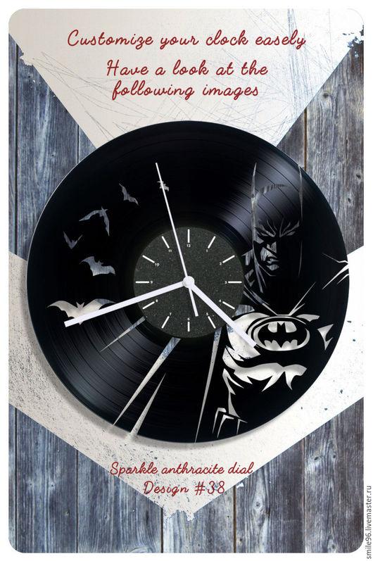 """Часы для дома ручной работы. Ярмарка Мастеров - ручная работа. Купить Часы из пластинки """"Batman"""". Handmade. Комбинированный, часы"""