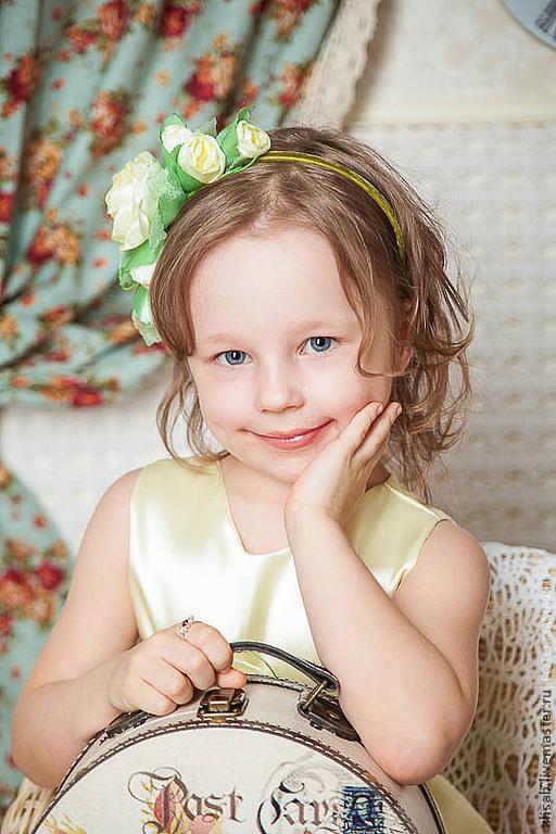 """Детская бижутерия ручной работы. Ярмарка Мастеров - ручная работа. Купить Ободочек """"Весна"""". Handmade. Цветочный, детские украшения, розы"""